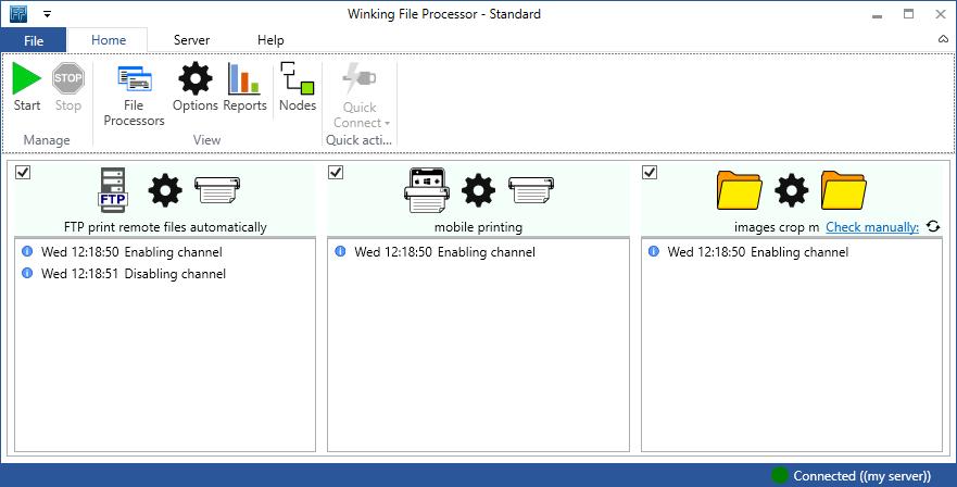 Monitor folders, automatic file processing, automatically print