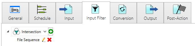 Input Filter overview after adding the file sequence filter